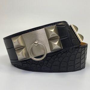 Authentic Hermès Black Croc Collier de Chien Belt